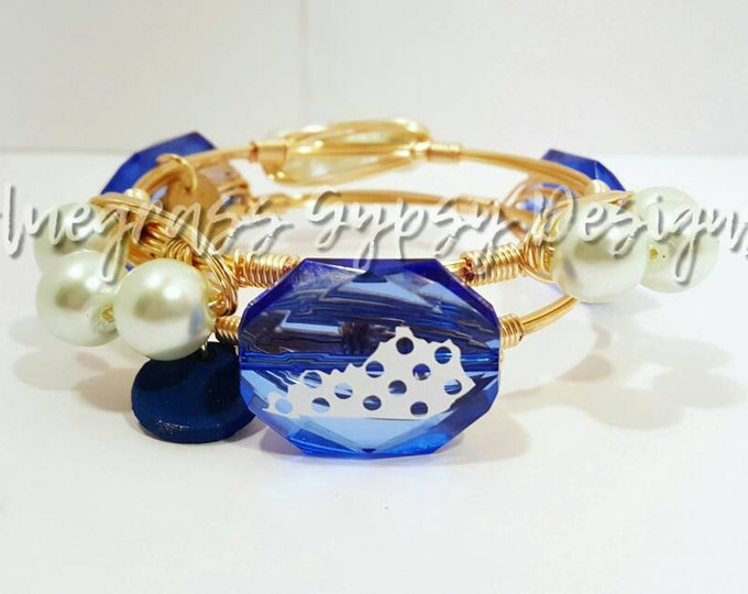 20% off University of Kentucky Wire Wrapped Bangle, UK, Bracelet, Bourbon and Boweties Inspired