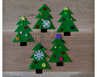 Five Little Christmas Trees Felt Song