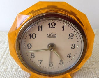 Vintage Hungarian made small alarm clock in amber plastic surround. Bedside clock/Retro clock/Collectable/East european/Manual clock.