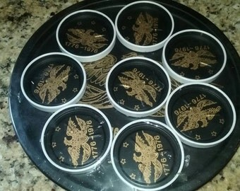 Bicentennial  Eagle Metal Serving Tray with Coasters.  1776 ~ 1976