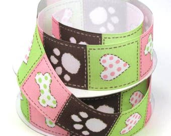 "1 1/2"" Dog Bone, Paw Print and Heart on Pink, Brown and Green Grosgrain Ribbon"