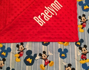 Personalized Mickey Mouse minky blanket, Baby Gift, Nursery Blanket, Toddler Bedding, Nursery Blanket, Crib Bedding