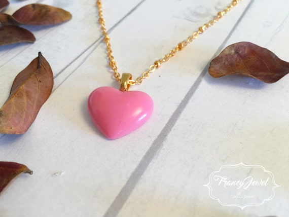 Heart, gold necklace, heart charm, pink heart necklace, lovely pendant, handmade jewelry, gift for her, made in Italy, Christmas gift