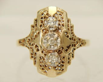 10K Yellow Gold Diamond Open Filigree Vintage Ring Size 7.5