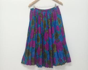 Vintage 70s Paul Mausner Beautiful Pleated Skirt/Made In France/ All Over Print Flower Skirt