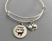 Cat - Cat Jewelry - Crazy Cat Lady - Cat Lover Gift - Charm Bracelet - Cat Bracelet - Bangle Bracelet - Valentines Gift - Cat Charm Bracelet