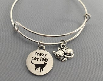 Cat - Cat Jewelry - Crazy Cat Lady - Cat Lover Gift - Charm Bracelet - Cat Bracelet - Bangle Bracelet - Valentines Gift - Cat Charm Bracelet