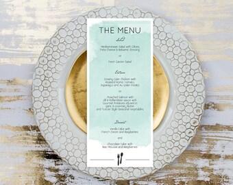 Watercolor Menu Card for Wedding Reception, Teal Menu Template,  Wedding Reception Menu Template,  Print on Kraft Wedding Menu