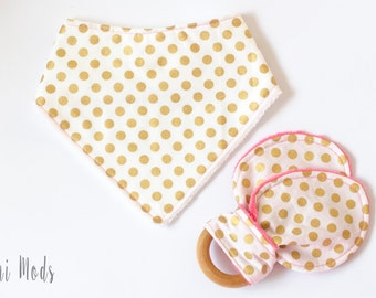 Baby Gift Set, Baby Shower Gift Set, Baby Girl Gift, Gold Dot Pink, Bibs & Burping, Dummy Clips, Girls, Pink, Teether, Dummy Clip, UK Seller
