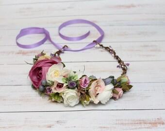 Purple Flower crown, Flower crown wedding, Flower hair wreath