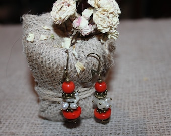 Orange coral earrings, Coral and pearl dangle earrings, Classic natural coral earrings, Coral jewelry, Pearl jewelry