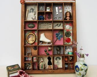 Decoration,, compartmented box, antique objects, vintage, porcelain figurines, .12 '' x 18 ''