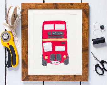 London bus embroidered, mounted and framed. Can be Personalised. Bespoke gift. Great present for moving house, new baby, childrens room