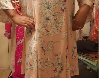 3xl Flowered Peach Chiffon Dress/ plus Size Kaftan Kneel length Dress