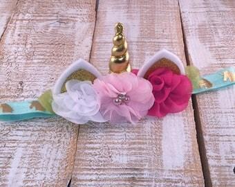 Unicorn Headband MINI size, Unicorn Headband, Unicorn Floral Crown, Unicorn Birthday, Girls Birthday, Unicorn Party, Newborn Photo Prop