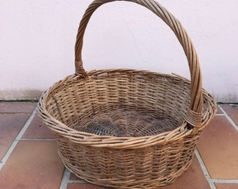 Basket Wicker Rattan Handle market Basket Shape Farm House vintage french 9
