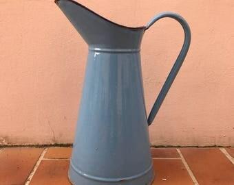 Vintage French Enamel pitcher jug water enameled blue 0104171