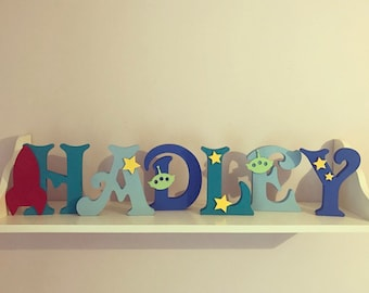 Wooden Letters • Space Themed • Boys Room • Wall Decor • Free Standing