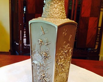 Large Royal Selangor Pewter Four Seasons Oriental Vase on mahogany wood stand.