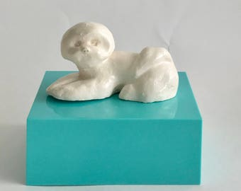 Handmade Bichon Frise Dog Sculpture by Artist Bebe Booth