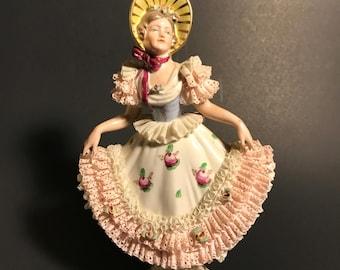 Vintage German Dresden  Lady Figurine by Gebruder Kuhnlenz