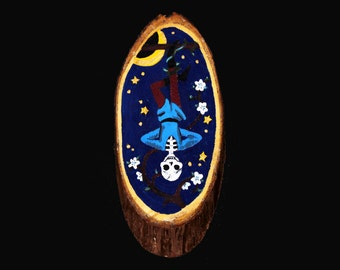 Hand Painted Hanged Man Tarot Wooden Wall Plaque