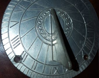 Colonial Williamsburg Steiff pewter sundial with markings