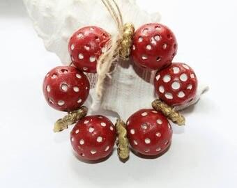 Red terracotta beads, African beads, red white beads, handmade beads, 14 mm