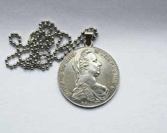 Vintage, antique coin, pendants, M.THERESIA, old coin,