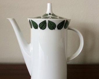 Rare Lucienne Day Leaf Design Coffee Pot for Rosenthal Berlin Range by Theo Baumann 1957 Mid Century Stig Lindberg Bersa Eames Era Robin Day