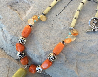 Olive jade and carnelian statement necklace