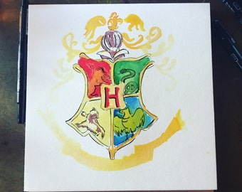 Hogwart Original 8x8 Watercolor Artwork