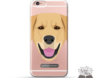 iPhone 7 case, iPhone 7 Plus case, Rubber iPhone case, Clear Samsung Galaxy case, iPhone 6 case, iPhone 6s case, S7 case, Golden Retriever