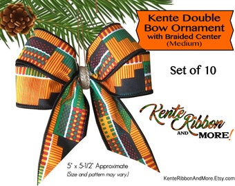 """Kente Bow Ornaments with Braided Centers - Set of 10 - 5"""" x 5.5"""" approximate size - Gold attachment wire on back"""