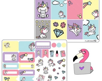Cute Unicorns - Weekly Mini Kit Planner Stickers