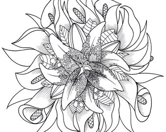 Flower Mandal Coloring Page For Calm, Relaxation, and Stress Relief - Adult Coloring Book Art Page Print Instantly