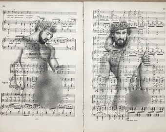Gay erotic poster 2 pages / Muscle man love / Printing Antique  sheet music page  decor interior picture ART erotic