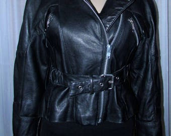 vintage superbe jacket de cuir noir /vintage black leather jacket rock star  Laurence Roy  size small