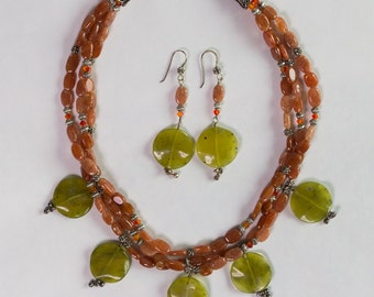 Jade and Carnelian Necklace and Earring Set
