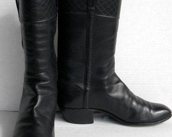 Sz 10.5 Vintage black leather mens cowboy boots.