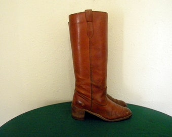 Vintage boots. Women boots, Sz 7.5 Vintage tall brown leather 1970s women campus boots.