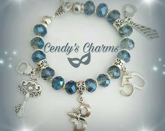 Fifty shades glass beads bracelet
