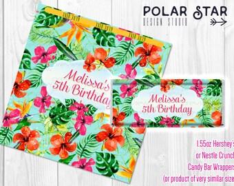 Hawaiian Flowers / Tropical Floral Themed Custom Big Candy Bar Wrappers - Printable Digital File (TF1)