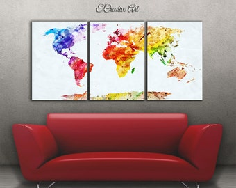 Large wall art, world map canvas, watercolor world map, large art world map, canvas world map, watercolor world map, world map detailed 9