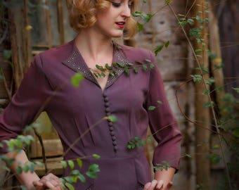 Mauve 1940s dress