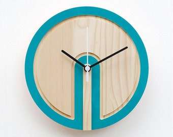 Wooden Colour 'Switch' Clock (teal blue)