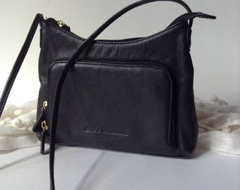 Stone Mountain Mini Black Pebbled Leather CrossBody / Shoulder Bag