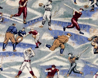 Baseball Fabric- Bases Loaded Baseball Players Fabric