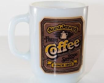 Vintage Milk Glass, Anchor Hocking, Aunt Jenny Coffee Mug
