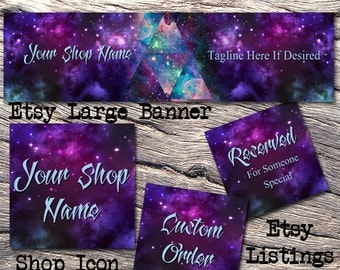 ETSY LARGE COVER Complete Set-Mystical Fantasy Cover Photo-Premade Fantasy Etsy Set-New Age Etsy-Etsy Large Cover-Purple Banner, #104